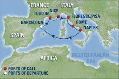 7 días de Crucero Barcelona – Nápoles